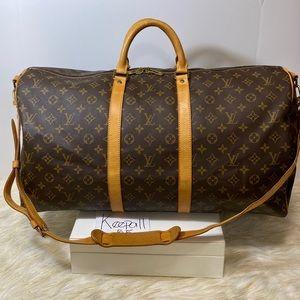 Louis Vuitton Monogram Keepall 55 bag bandolier